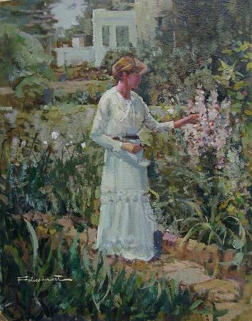 Felice Hrovat In the Garden 18x14 Oil on Board