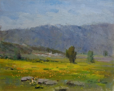 Felice Hrovat Mustard Poppies and Hills 8x10 Oil on Canvas