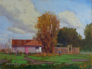Felice Hrovat Orange and Pink 9x12 Oil on Board