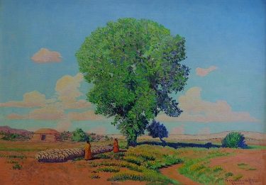 Ferdinand Burghdorff New Mexico Homestead 14x20 Oil on Board