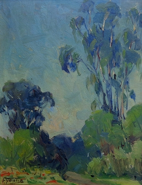 Florence Young Eucalyptus along the Path 9x7 Oil on Board