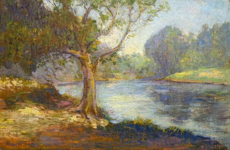 Frank C. Boggs Along the River 12x18 oil on canvas