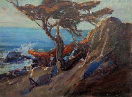 Frederick W. Becker The Monterey Pine 12x16 Oil on Board