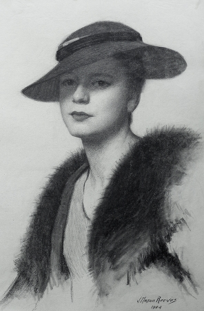 J. Mason Reeves Hat and Fur 20 x 16 pencil drawing