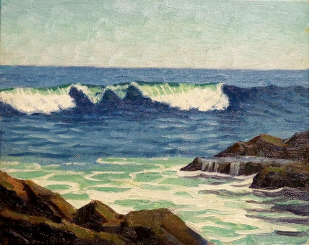 J. Mason Reeves Laguna Breakers 8x10 oil on canvas board