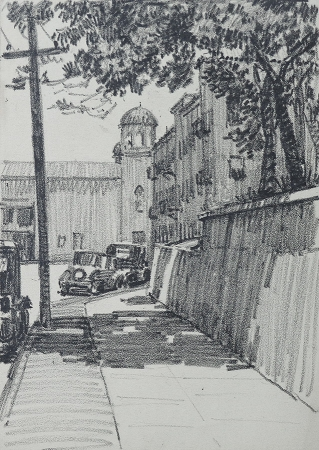 J. Mason Reeves Los Angeles sidewalk 10x8 pencil drawing