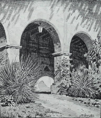 J. Mason Reeves Mission Arches 10x10 pencil drawing