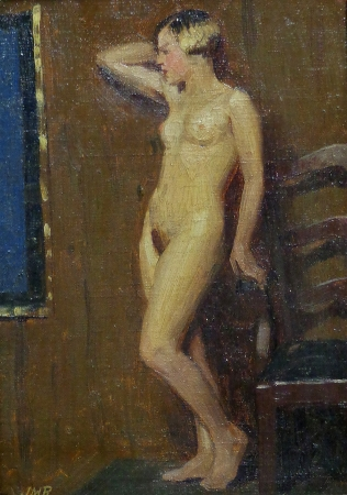J. Mason Reeves Posing Nude 10x8 oil on canvas board