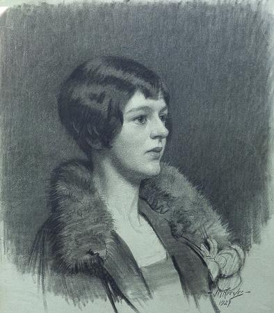 J. Mason Reeves The Fur Collar 20x16 pencil drawing