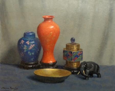 J. Mason Reeves The Orange Vase 16x20 Oil on Canvas Board