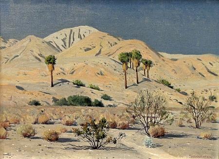 James Swinnerton Desert Palms 12x16 Oil on Canvas