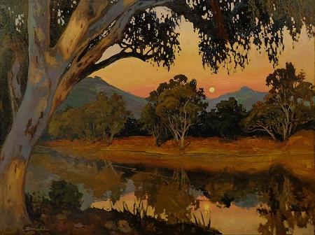 Jan Schmuckal Moonrise Sunset 27.5x37.5 Oil on Canvas
