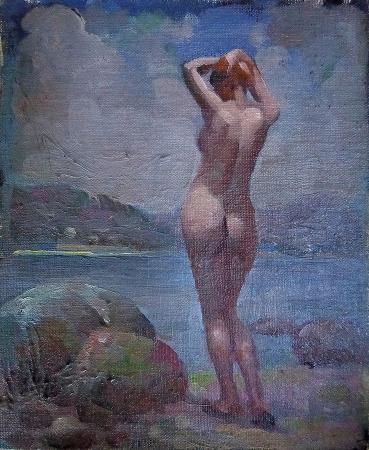 Joseph Newman Shoreline Nude 10x8 Oil on Canvas Board