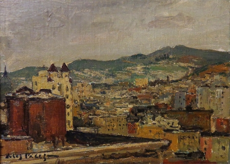 Jules Pages San Francisco looking toward Twin Peaks 7x9 oil on canvas board