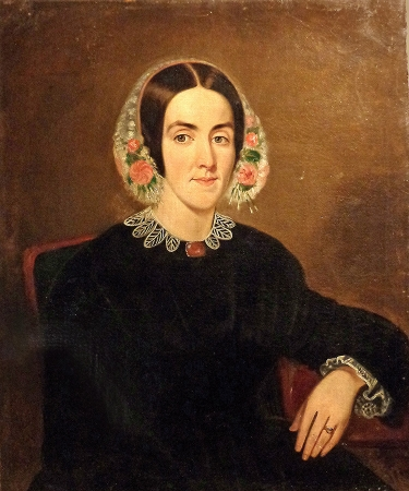 Unknown Artist American Portrait of a Woman Circa 1840 30x25 Oil on Canvas