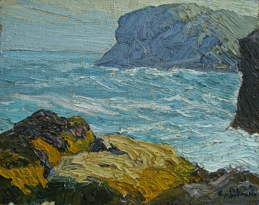 Theophile Schneider Gull Rock, Mohegan Island Light 8x10 Oil on Board