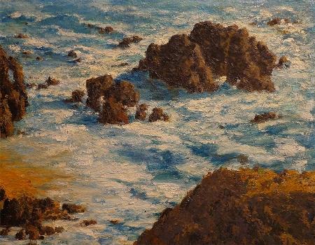 Unknown Artist California Coast 13x16 Oil on Board