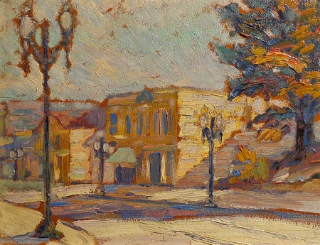Unknown Artist City Street–Circa 1920's 11x14 Oil on Board