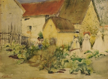Ada Frances Lathrop Working in the Garden 9x12 Watercolor