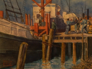 Adolphine Sutro Fullerton Loading the Ship 9x12 Watercolor