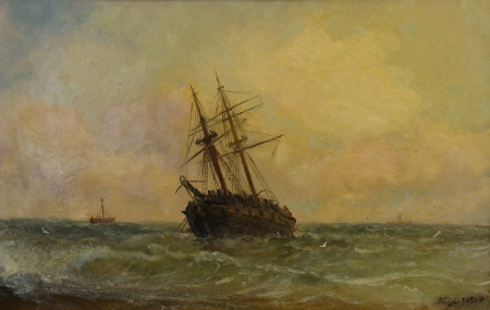 Adolphus Knell Shipwreck 12x16 Oil on Canvas