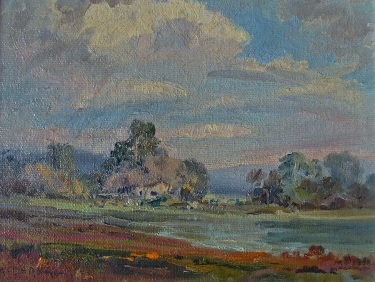 Albert de Rome Elkhorn Slough near Moss Landing Monterey 6x8 Oil on Canvas