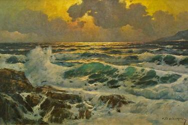 Alexander Dzigurski Laguna Sunset 24x36 Oil on Canvas