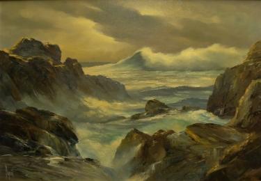 Alfred DuPont Laguna Rocks 30x38 Oil