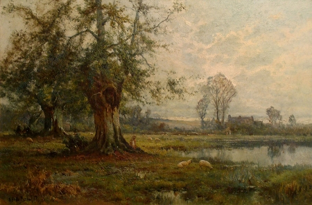 Oil painting of country farm landscape by Alfred F. De Breanski depicting a pond, old tree, sheep, farm buildings and a shepard
