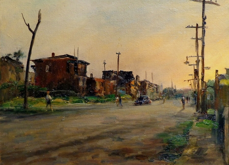 Alfred Mira Street in Newark 12x16 Oil on Canvas