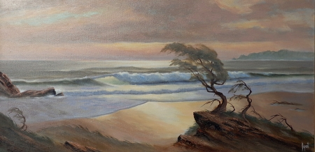 Alfred Dupont Windswept by the Sea 24x48 Oil on Canvas