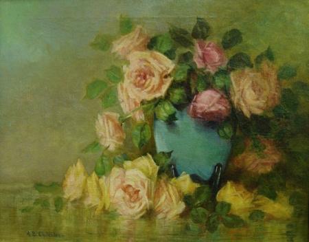 Alice B Chittenden Roses in a Blue Vase 16x20 Oil