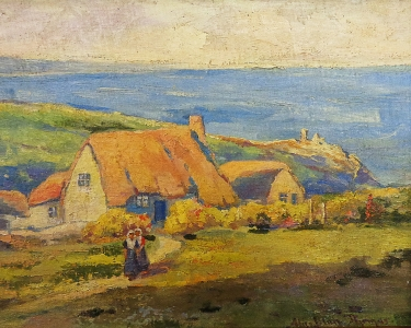 Alice Blair Thomas Cottages by the Sea 9x12 Oil on Board