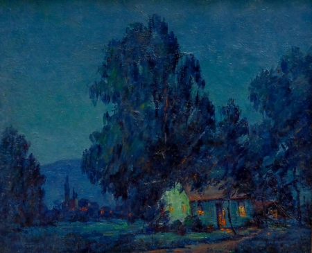 Alta West Salisbury California Adobe in Moonlight 18x22 Oil on Canvas