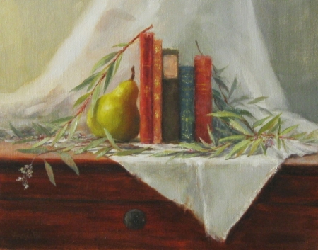 Amanda Fish Antique Books with Pear