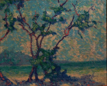 Attributed to Abraham Bogdanove Pointilist Landscape 9x12 Oil on Canvas