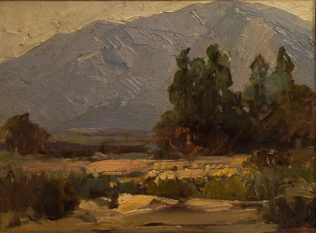Attributed to Hanson Puthuff Desert Landscape 12x16 Oil on Board