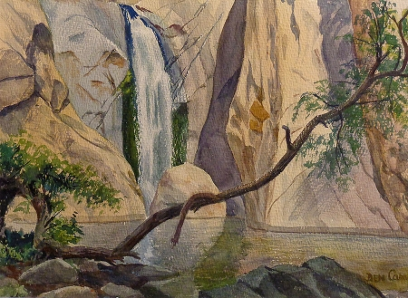 Ben Carre Overhang Tahquitz Canyon Palm Springs 10x15 watercolor