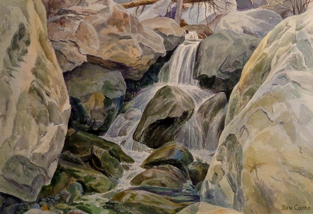 Ben Carre Rushing Waters Tahquitz Canyon Palm Springs 12x20 Watercolor