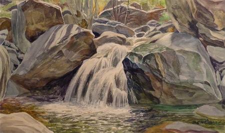 Ben Carre Scorpian Falls Tahquitz Canyon Palm Springs 10x15 Watercolor