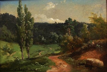 Bernhard Fries German Landscape 7x10 Oil on Paper Board