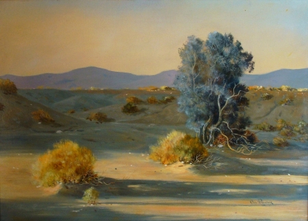 Bill Bender Desert Shadows 18x25 Oil on Board