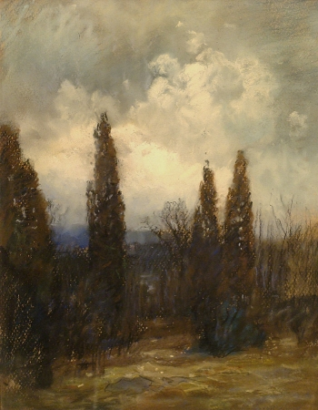 European classic style landscape oil painting of approaching storm and trees by Clarence Scott White