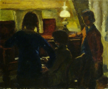 Clem Clemmensen The Piano Lesson 16x20 Oil on Canvas