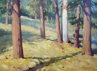 Clyde Forsythe Sunshine Through the Pines 12x16 Oil on Board