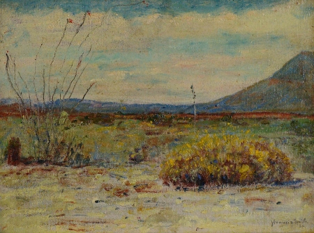 Oil painting by John Francis Smith of California Desert, mountains, ocotillo plants