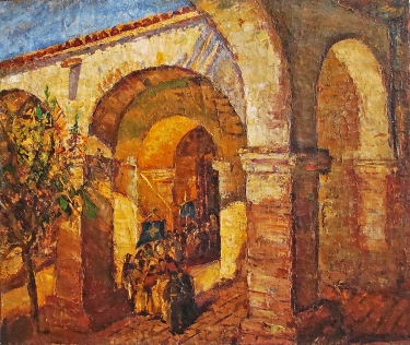 David S Tauszky Procession at the Mission 20x24 Oil on Canvas