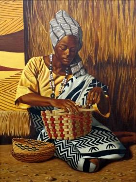David St Denis Basket Weaver 40x30 Oil on Canvas