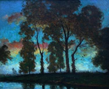 Dedrick Brandes Stuber Sunset Through the Trees 23x28 Oil on Canvas