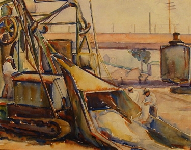 Construction Los Angeles by Donna Shuster 14x18 Watercolor